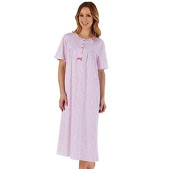 Slenderella ND55102A Women's Pink Floral Cotton Nightdress