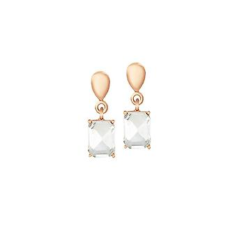 Eternal Collection Glitzy Clear Crystal Rose Gold Tone Drop Clip On Earrings