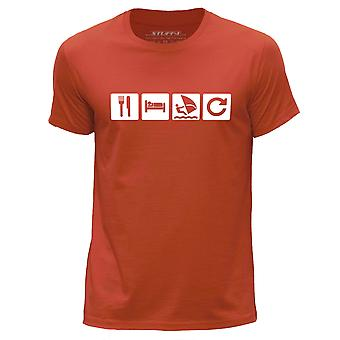 STUFF4 Men's Round Neck T-Shirt/Eat Sleep Windsurf Repeat Icon/Orange