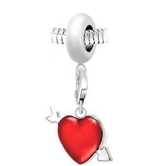 Charm perle coeur rouge par SC Crystal Paris� BEA0044+CH0728-argent