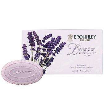 Bronnley Pachnące mydło do rękodzieła - Lawenda Triple Frezowane Mydło - w gift box 3x100g