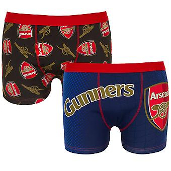 Arsenal FC Official Football Gift 2 PAIR Pack Mens Boxer Shorts