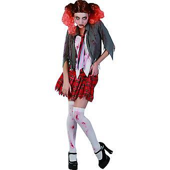 Zombie Halloween vrouwelijke schoolmeisje vermomming