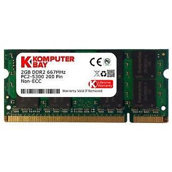 Komputerbay 2GB DDR2 667MHz PC2-5300 PC2-5400 DDR2 667 (200 PIN) SODIMM 노트북 메모리