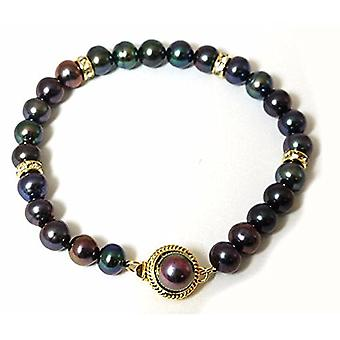 TOC Dyed Black Peacock Freshwater Cultured Pearl Bracelet 7.5
