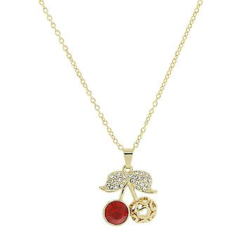 TOC Goldtone Red Rhinestone Set Cherry Pendant Necklace 16
