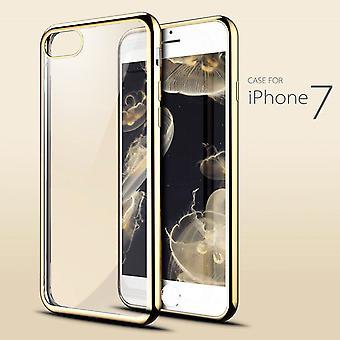 IPhone SE (2020), 8 & 7 tapauksessa, tyylikäs iskunkestävä läpinäkyvä kestävä suojakansi, kulta
