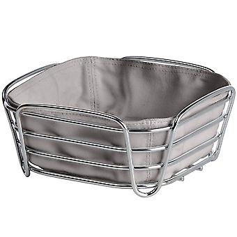 Blomus bread basket small DELARA steel chrome plated with cotton insert taupe