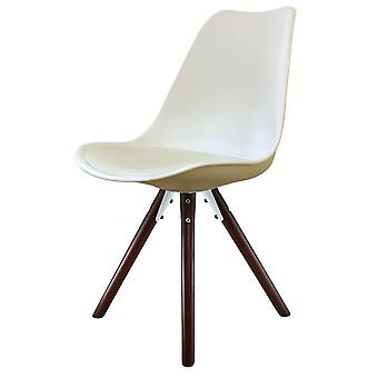 Fusion Living Eiffel Inspired Vanilla Plastic Dining Chair With Pyramid Dark Wood Legs
