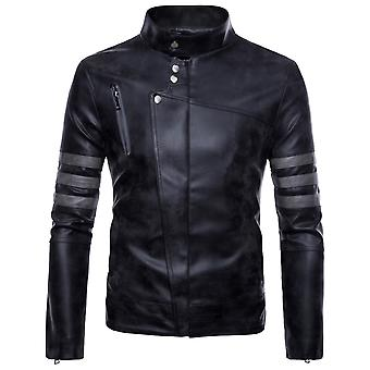 Allthemen Men's Leather Coat Stand Collar Zipper Casual Leather Jacket
