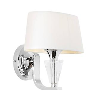 Wall Lamp Fiennes, Chrome And Crystal, With Lampshade