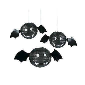 3 Halloween Bat Lantern Papir Party Dekorationer