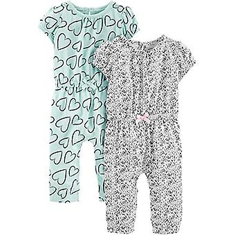 Simple Joys by Carter's Girls' 2-Pack Fashion Jumpsuits, Blue Hearts/Gray, 6-...