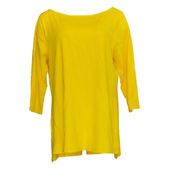 Isaac Mizrahi Live! Women's Top 3/4 Sleeve with Cross Back Yellow A376620