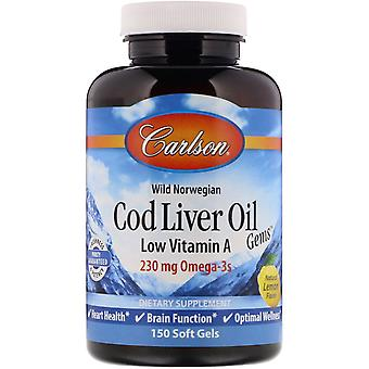 Carlson Labs, Wild Norwegian, Cod Liver Oil Gems, Low Vitamin A, Natural Lemon F