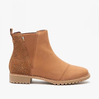 TOMS Cleo Ladies Leather Ankle Boots Tan