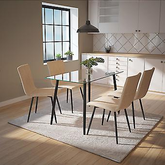 Aaliyah/Jacob 5Pc Dining Set - Black Table/Beige Chair