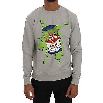 Frankie Morello Gray Cotton Crewneck Pullover Suéter TSH1290-4