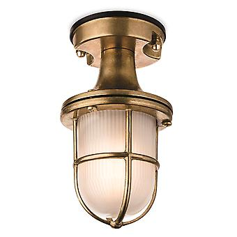 1 Light Outdoor Flush Light Brass with Frosted Glass IP54, E27