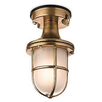 Firstlight Nautic - 1 lys utendørs flush lys messing med frostet glass IP54, E27