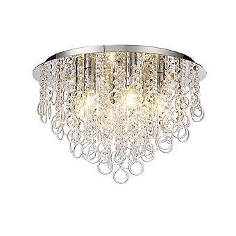 Iluminación Luminosa - Techo, 6 Luz E14, Cromo Pulido, Cristal