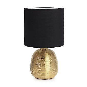 1 Lampada da tavolo interno chiaro oro con ombra cilindrica, E27