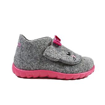 Superfit Happy 00295-25 Grey Felt With Cat Motif Girls Rip Tape Slippers
