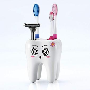 Tooth Shape, Cartoon Printed Toothbrush Holder With Holes