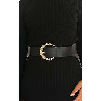 IKRUSH Womens Rita Faux Leather Round Buckle Belt
