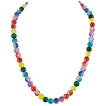 Eternal Collection Carnival Rainbow Czech Glass Crackle Bead Silver Tone Long Necklace