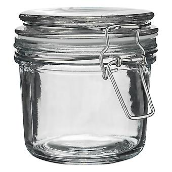 Argon Tableware Glass Storage Jar with Airtight Clip Lid - 350ml - White Seal