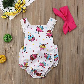 Baby Clothes Ice Cream Print Sleeveless Bodysuit Headband Outfit Clothes