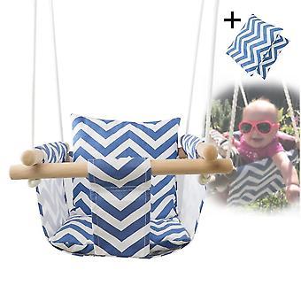 Baby Canvas Swing Hängande stol, trä inomhus, liten korg gungstol med