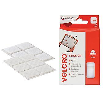 VELCRO Brand VELCRO Brand Stick On Squares 25mm White Pack of 24 VEL60235