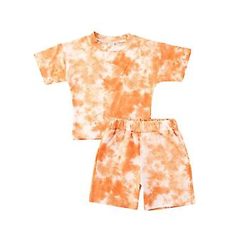 Infant Baby Girls Tie-dye Printed Clothes Sets, Summer Short Sleeve Boy T