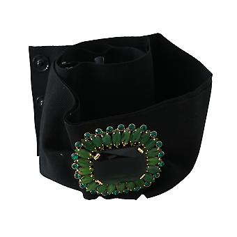 Dolce & Gabbana Black Stretch Green Crystal Wide Waist Belt