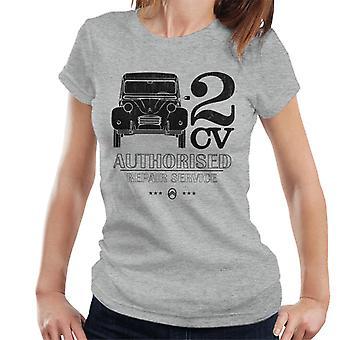 Citroen 2CV Valtuutettu korjauspalvelu Black Logo Naisten t-paita