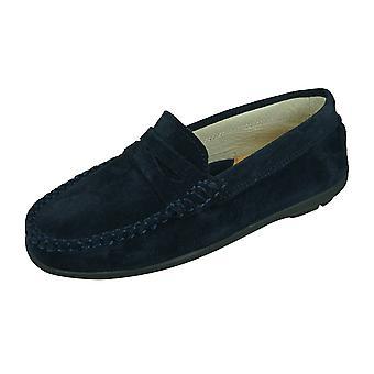 Angela Brown Hadley Kids Pelle scamosciata Mocassini / Slip on Shoes - Navy Blue