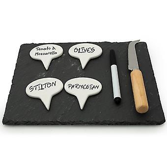 """PMS 10 * 8 """" Skifferbräda med ostmarkör, penna & knivset"""