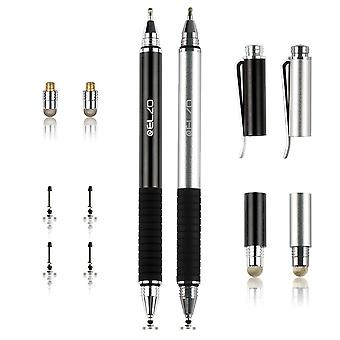 Elzo 3 in 1 capacitive disc stylus gel pen combo 2 pcs with 4 replaceable disc tips and 2 replacemen