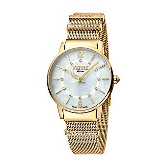 Ferre Milano Ladies White MOP Dial GP Mesh Watch