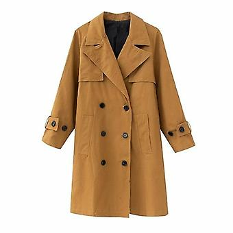 Women Trench Long Sleeve Double Breasted High Street Ladies Long Wind