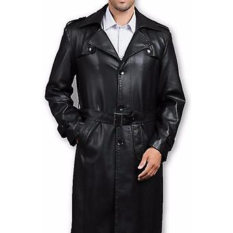 Mens Executive Premio 3 Button Trench Leather Coat