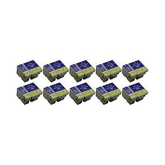 RudyTwos 10X korvaaminen Epson BeachHuts T0361 T0370 Aseta muste yksikkö musta & kolmivärinen yhteensopiva C42, C42 Plus, C42 Pro, C42 S, C42SX, C42UX, C44, C44 Plus, C46