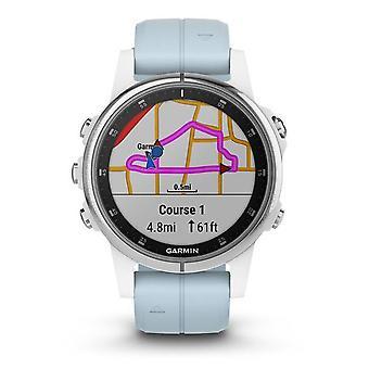 Garmin 010-01987-23 Fenix 5s Plus Smartwatch Gps Wit en Blauw Siliconen Horloge