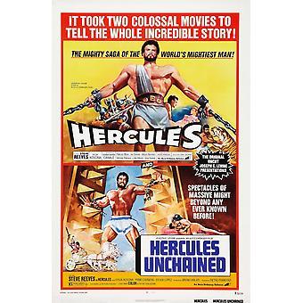 ヘラクレス 1973 ダブル法案ポスター アート スティーブ ・ リーブス アンチェ インド 1958年ヘラクレス私たちスティーヴ ・ リーヴス 1959年映画ポスター Masterprint