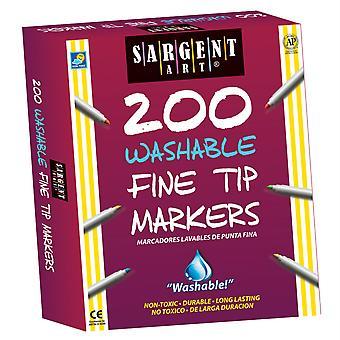 Washable Fine Tip Markers, 200/Pkg