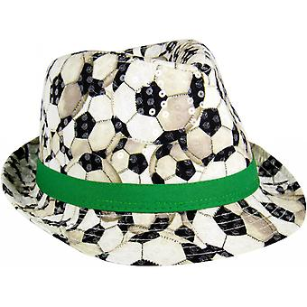 Trilby-Hoed Voetbal 22,5 X 13 Cm Polyester Zwart / Wit / Groen