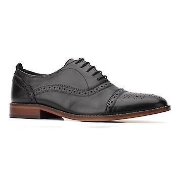 Base cast waxy leather mens formal shoes black UK Size