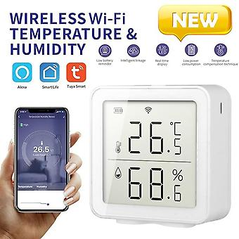 Smart home wifi wireless temperature humidity sensor lcd thermometer indoor thermometer hygrometer white